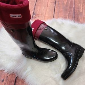 Hunter Regent Carlyle boots and socks sz 39 (8)